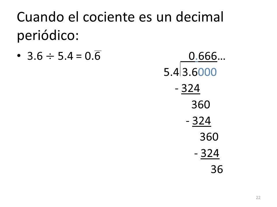 Cuando el cociente es un decimal periódico: 22