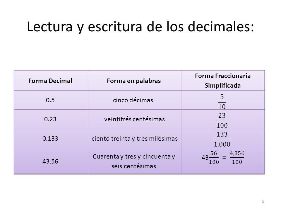 Lectura y escritura de decimales: Note que al leer un número decimal decimos y cuando alcanzamos el punto decimal.