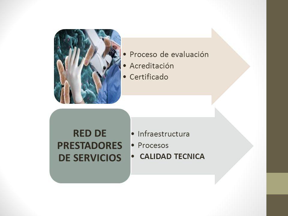 Infraestructura Procesos CALIDAD TECNICA RED DE PRESTADORES DE SERVICIOS Proceso de evaluación Acreditación Certificado