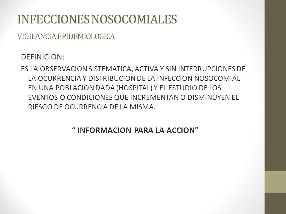 INFECCIONES NOSOCOMIALES VIGILANCIA EPIDEMIOLOGICA DEFINICION: ES LA OBSERVACION SISTEMATICA, ACTIVA Y SIN INTERRUPCIONES DE LA OCURRENCIA Y DISTRIBUCION DE LA INFECCION NOSOCOMIAL EN UNA POBLACION DADA (HOSPITAL) Y EL ESTUDIO DE LOS EVENTOS O CONDICIONES QUE INCREMENTAN O DISMINUYEN EL RIESGO DE OCURRENCIA DE LA MISMA.
