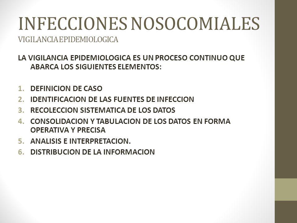 INFECCIONES NOSOCOMIALES VIGILANCIA EPIDEMIOLOGICA LA VIGILANCIA EPIDEMIOLOGICA ES UN PROCESO CONTINUO QUE ABARCA LOS SIGUIENTES ELEMENTOS: 1.DEFINICION DE CASO 2.IDENTIFICACION DE LAS FUENTES DE INFECCION 3.RECOLECCION SISTEMATICA DE LOS DATOS 4.CONSOLIDACION Y TABULACION DE LOS DATOS EN FORMA OPERATIVA Y PRECISA 5.ANALISIS E INTERPRETACION.