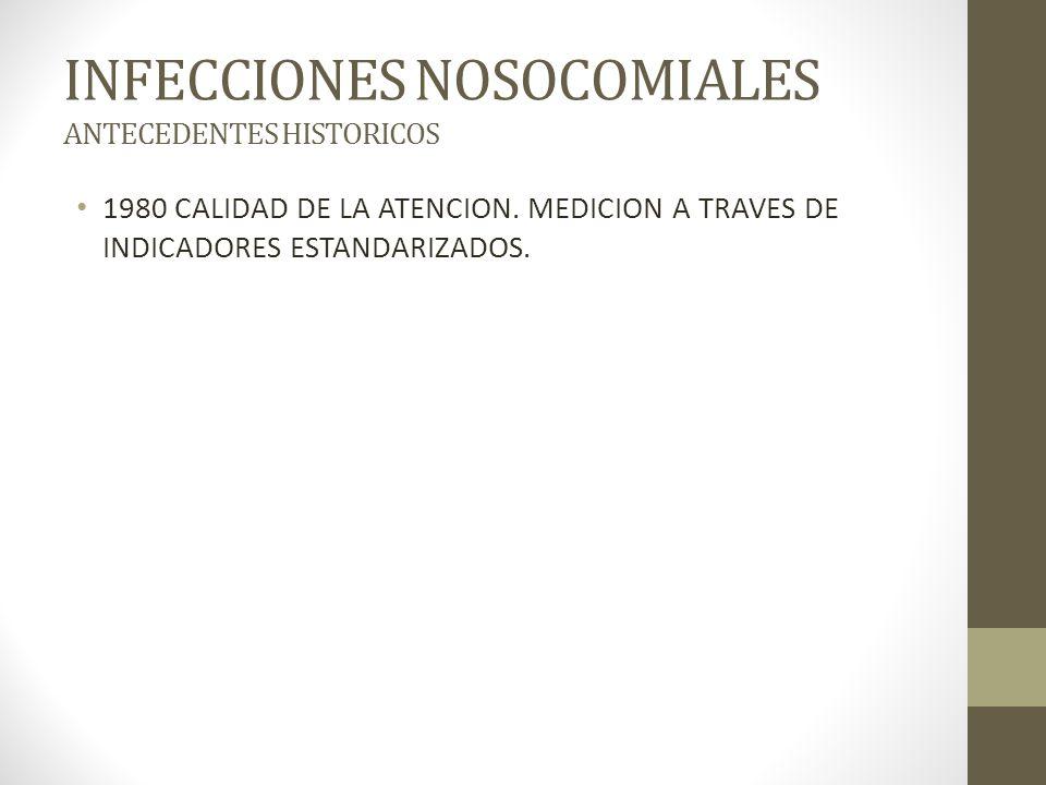 INFECCIONES NOSOCOMIALES ANTECEDENTES HISTORICOS 1980 CALIDAD DE LA ATENCION.