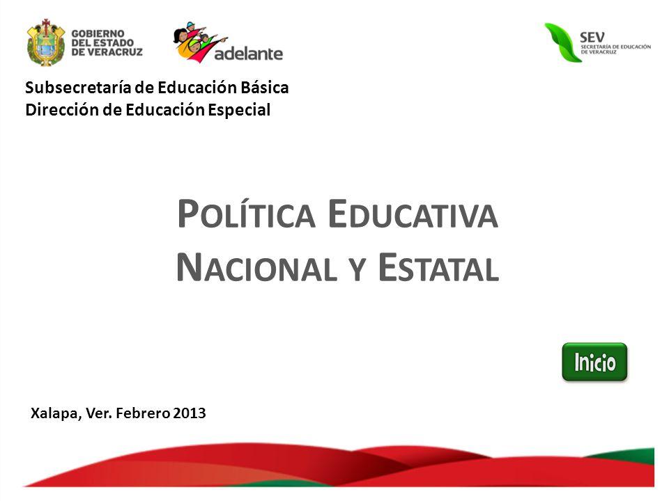 Subsecretaría de Educación Básica Dirección de Educación Especial P OLÍTICA E DUCATIVA N ACIONAL Y E STATAL Xalapa, Ver.