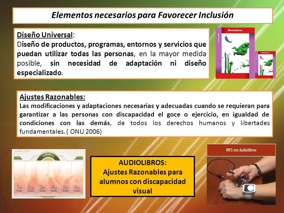 Elementos necesarios para Favorecer Inclusión Diseño Universal: Diseño de productos, programas, entornos y servicios que puedan utilizar todas las personas, en la mayor medida posible, sin necesidad de adaptación ni diseño especializado.