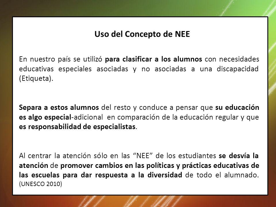 En nuestro país se utilizó para clasificar a los alumnos con necesidades educativas especiales asociadas y no asociadas a una discapacidad (Etiqueta).