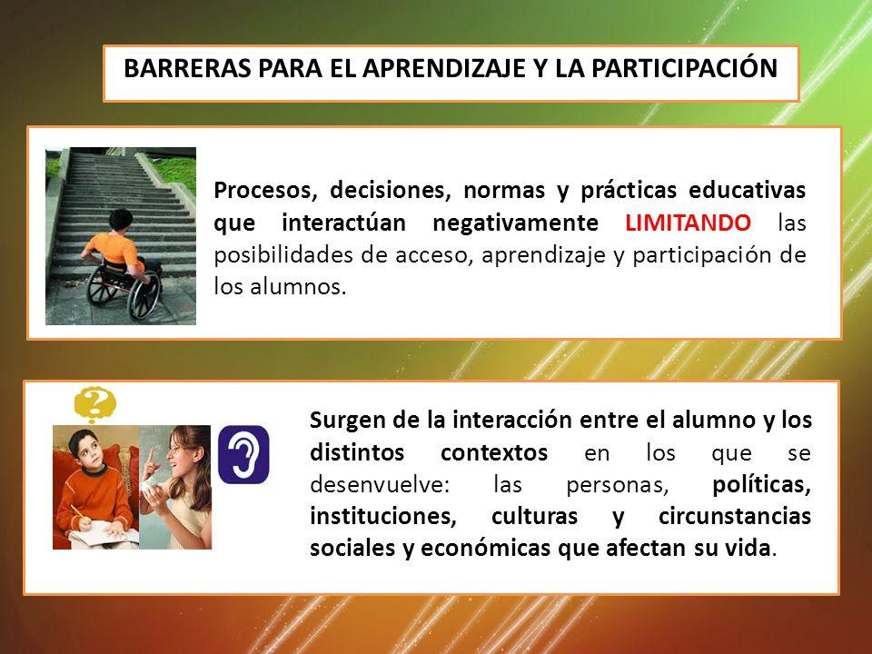BARRERAS PARA EL APRENDIZAJE Y LA PARTICIPACIÓN Procesos, decisiones, normas y prácticas educativas que interactúan negativamente LIMITANDO las posibilidades de acceso, aprendizaje y participación de los alumnos.