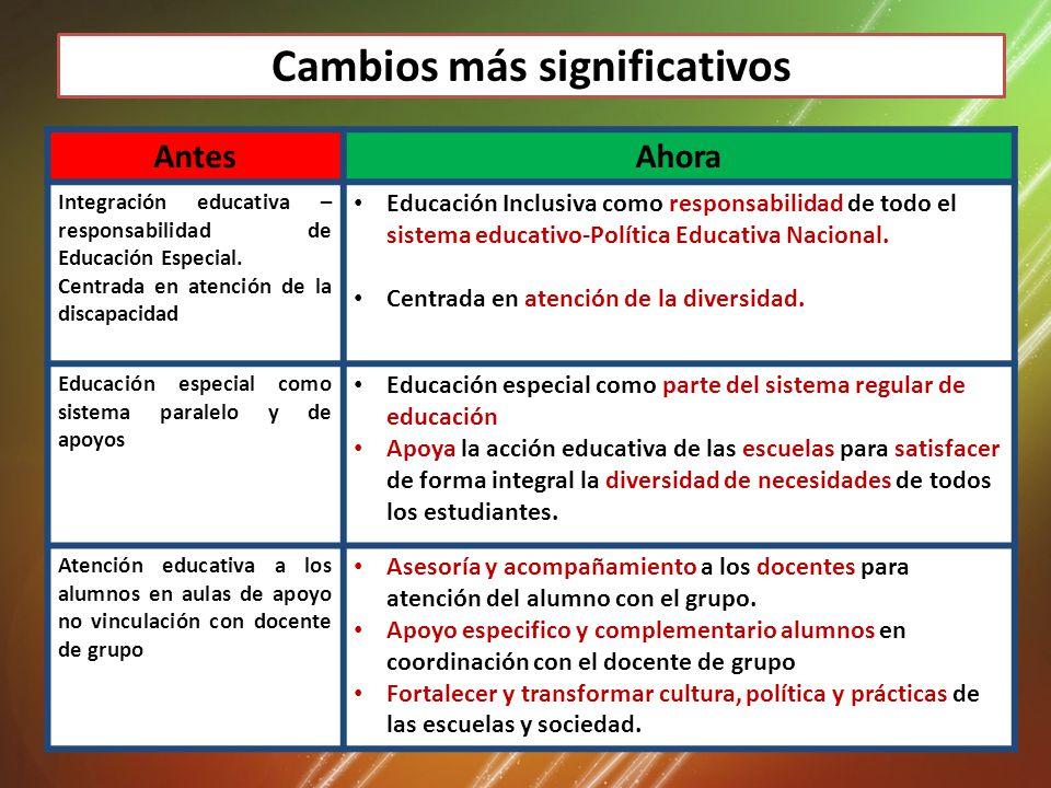 Cambios más significativos AntesAhora Integración educativa – responsabilidad de Educación Especial.