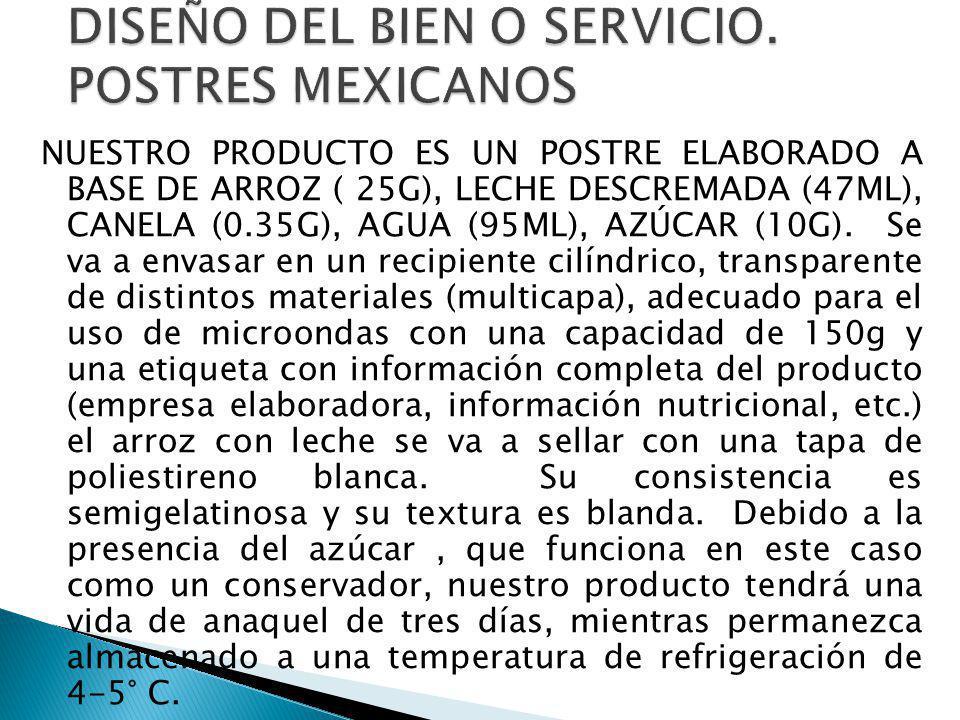 NUESTRO PRODUCTO ES UN POSTRE ELABORADO A BASE DE ARROZ ( 25G), LECHE DESCREMADA (47ML), CANELA (0.35G), AGUA (95ML), AZÚCAR (10G). Se va a envasar en