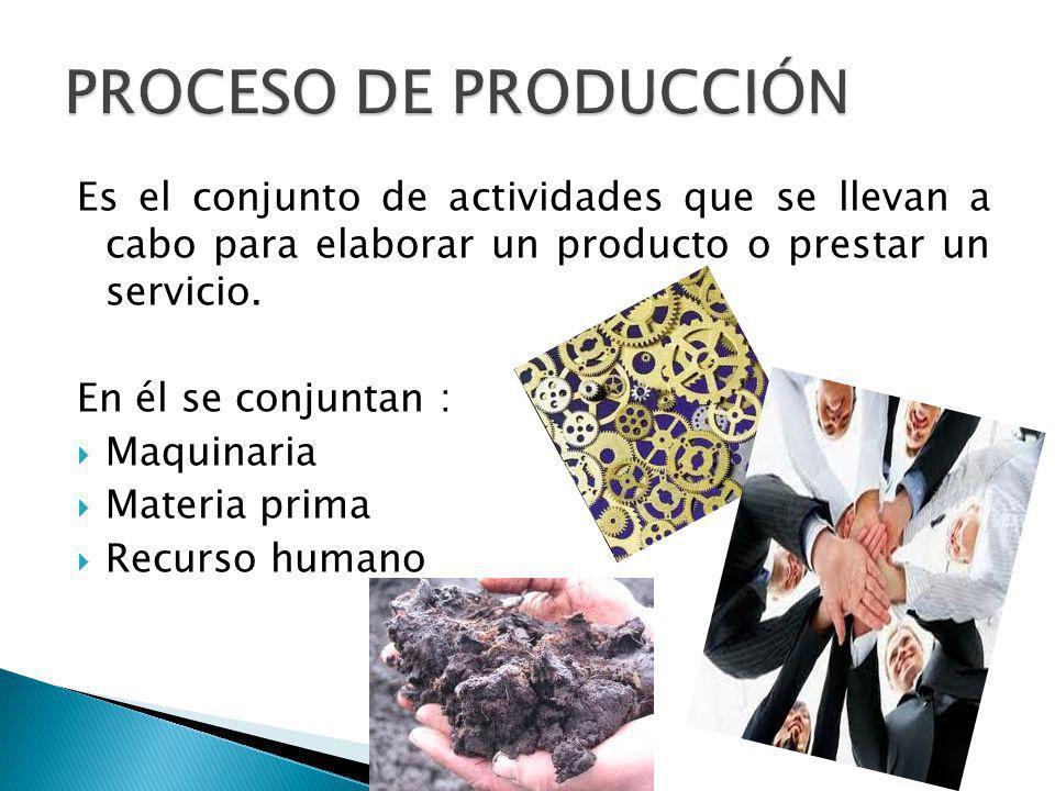 Es el conjunto de actividades que se llevan a cabo para elaborar un producto o prestar un servicio. En él se conjuntan : Maquinaria Materia prima Recu