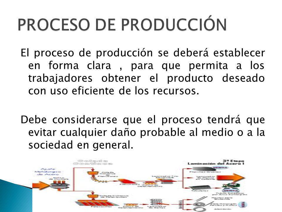 El proceso de producción se deberá establecer en forma clara, para que permita a los trabajadores obtener el producto deseado con uso eficiente de los