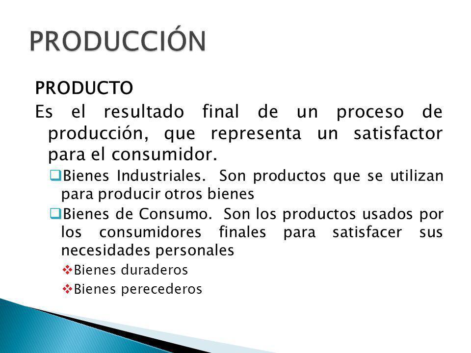 PRODUCTO Es el resultado final de un proceso de producción, que representa un satisfactor para el consumidor.