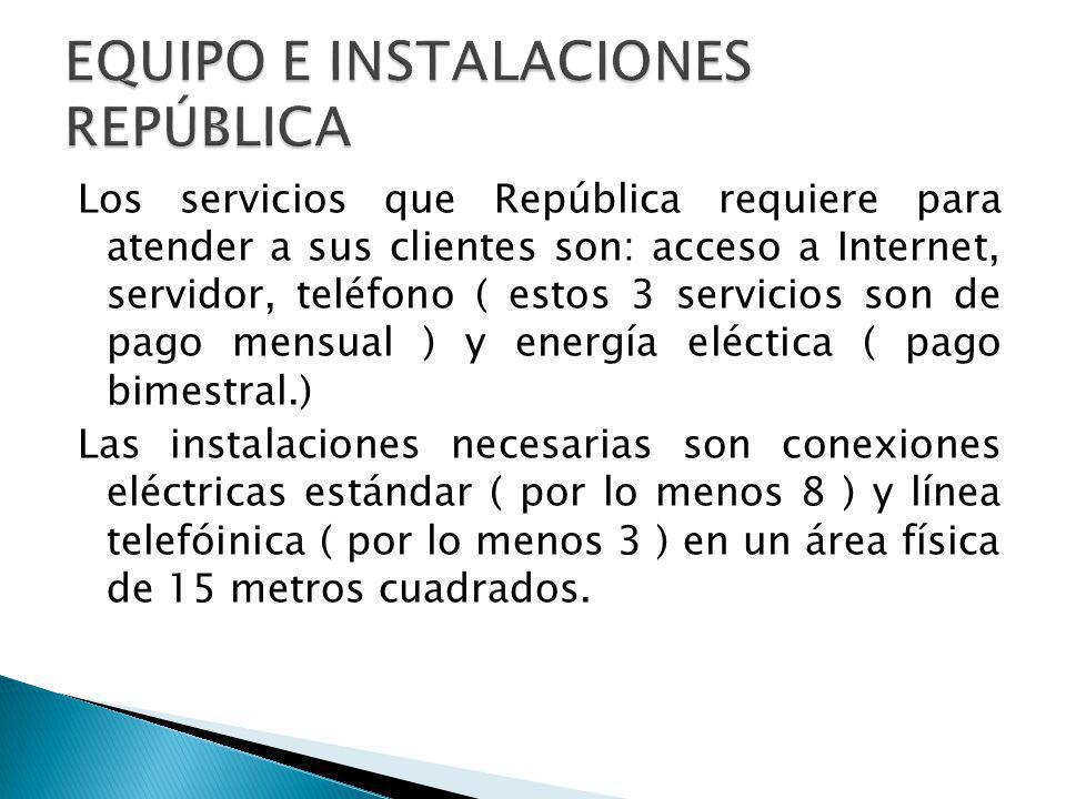 Los servicios que República requiere para atender a sus clientes son: acceso a Internet, servidor, teléfono ( estos 3 servicios son de pago mensual )