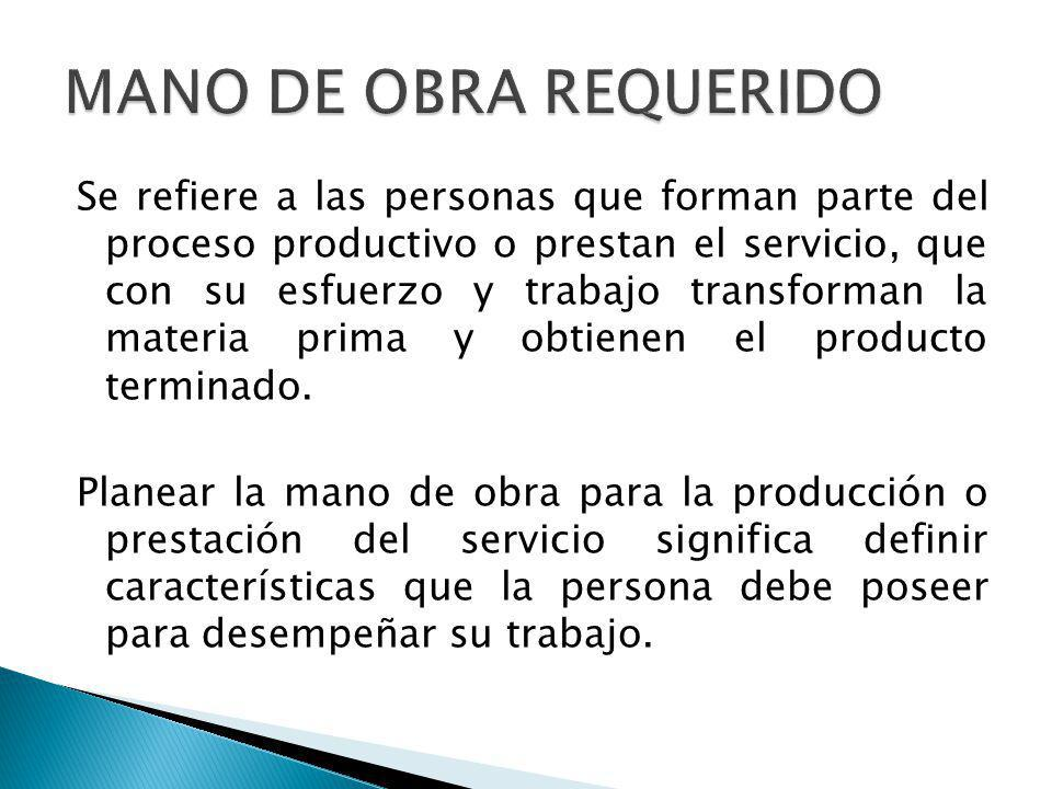 Se refiere a las personas que forman parte del proceso productivo o prestan el servicio, que con su esfuerzo y trabajo transforman la materia prima y obtienen el producto terminado.