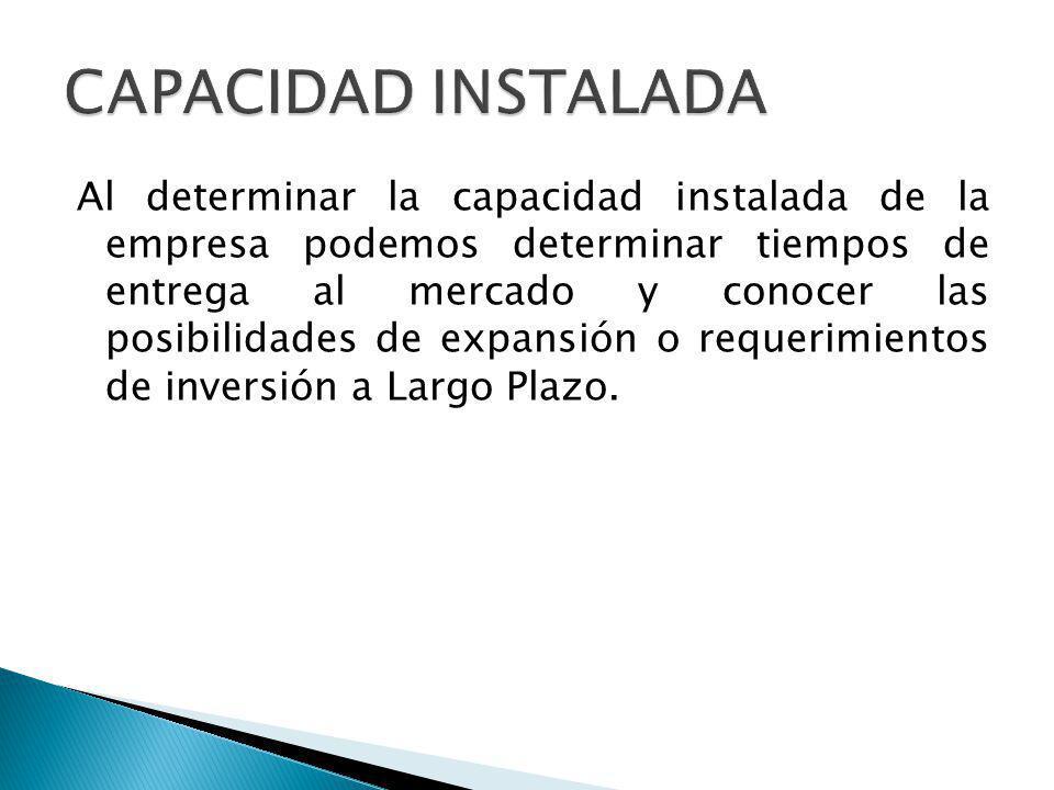 Al determinar la capacidad instalada de la empresa podemos determinar tiempos de entrega al mercado y conocer las posibilidades de expansión o requerimientos de inversión a Largo Plazo.