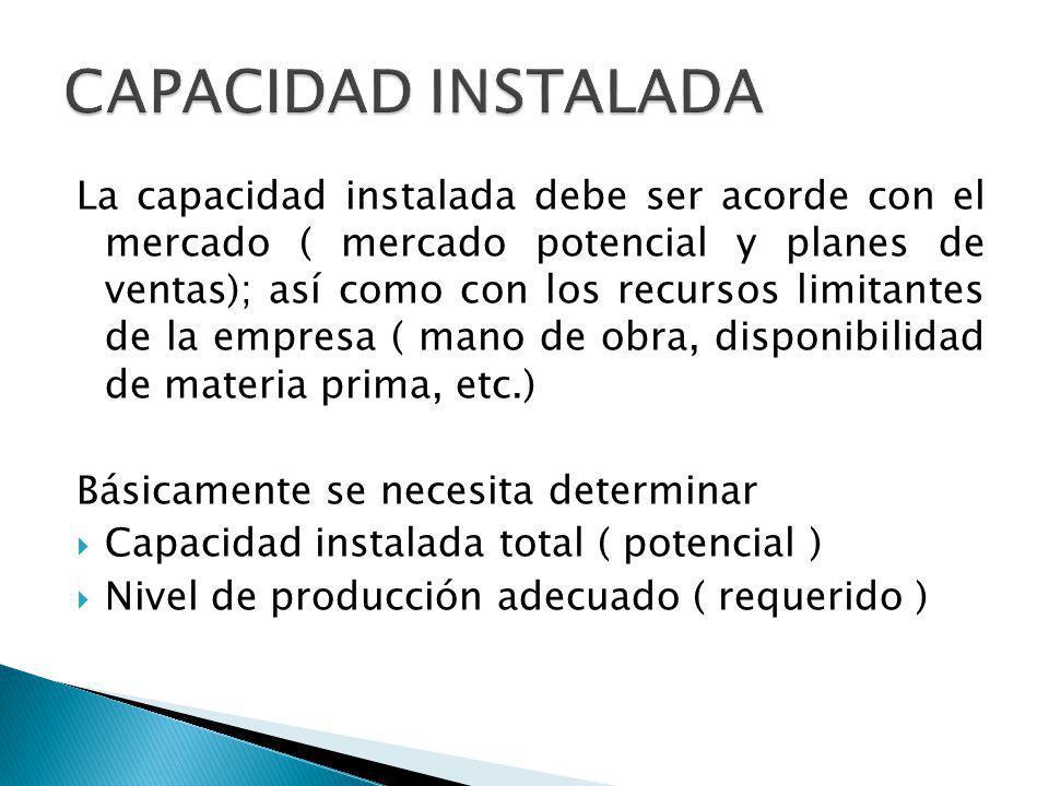 La capacidad instalada debe ser acorde con el mercado ( mercado potencial y planes de ventas); así como con los recursos limitantes de la empresa ( mano de obra, disponibilidad de materia prima, etc.) Básicamente se necesita determinar Capacidad instalada total ( potencial ) Nivel de producción adecuado ( requerido )