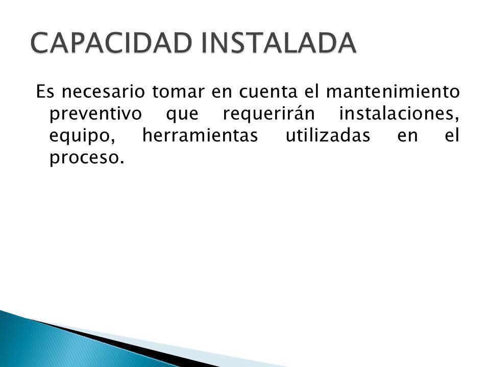 Es necesario tomar en cuenta el mantenimiento preventivo que requerirán instalaciones, equipo, herramientas utilizadas en el proceso.