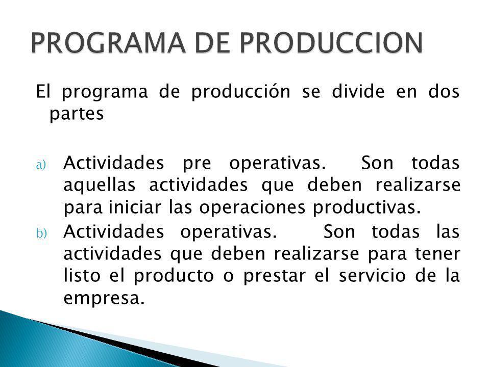 El programa de producción se divide en dos partes a) Actividades pre operativas. Son todas aquellas actividades que deben realizarse para iniciar las