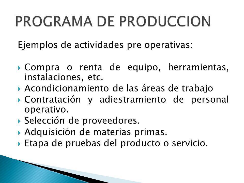 Ejemplos de actividades pre operativas: Compra o renta de equipo, herramientas, instalaciones, etc. Acondicionamiento de las áreas de trabajo Contrata