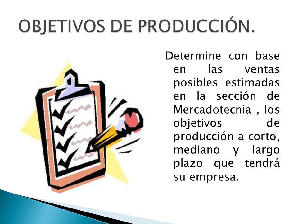 Determine con base en las ventas posibles estimadas en la sección de Mercadotecnia, los objetivos de producción a corto, mediano y largo plazo que tendrá su empresa.
