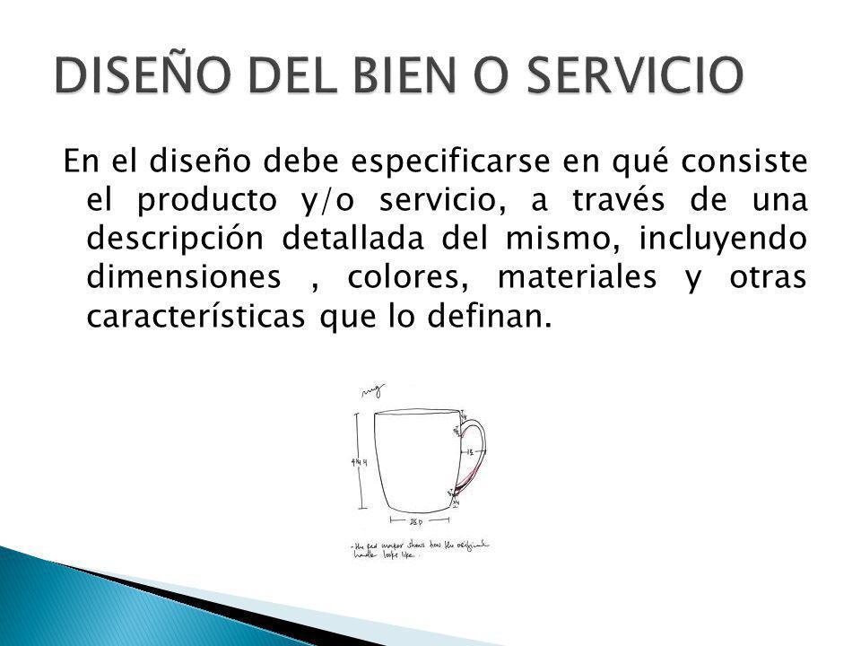 En el diseño debe especificarse en qué consiste el producto y/o servicio, a través de una descripción detallada del mismo, incluyendo dimensiones, colores, materiales y otras características que lo definan.