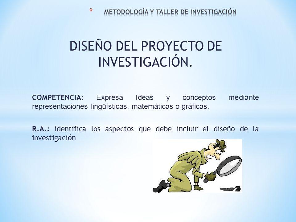 DISEÑO DEL PROYECTO DE INVESTIGACIÓN.