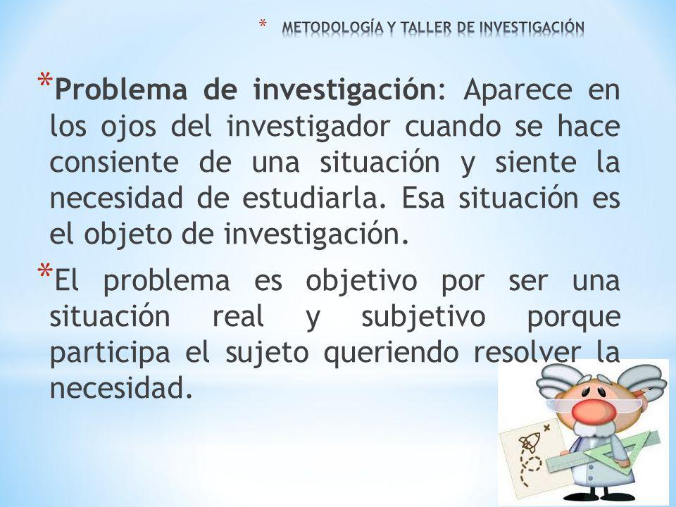* Problema de investigación: Aparece en los ojos del investigador cuando se hace consiente de una situación y siente la necesidad de estudiarla. Esa s