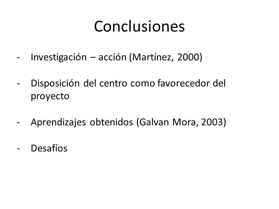 Conclusiones -Investigación – acción (Martínez, 2000) -Disposición del centro como favorecedor del proyecto -Aprendizajes obtenidos (Galvan Mora, 2003