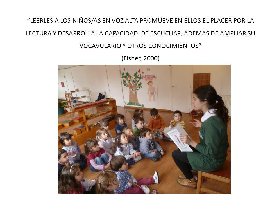 LEERLES A LOS NIÑOS/AS EN VOZ ALTA PROMUEVE EN ELLOS EL PLACER POR LA LECTURA Y DESARROLLA LA CAPACIDAD DE ESCUCHAR, ADEMÁS DE AMPLIAR SU VOCAVULARIO