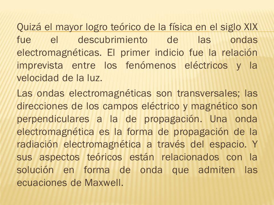 Quizá el mayor logro teórico de la física en el siglo XIX fue el descubrimiento de las ondas electromagnéticas. El primer indicio fue la relación impr