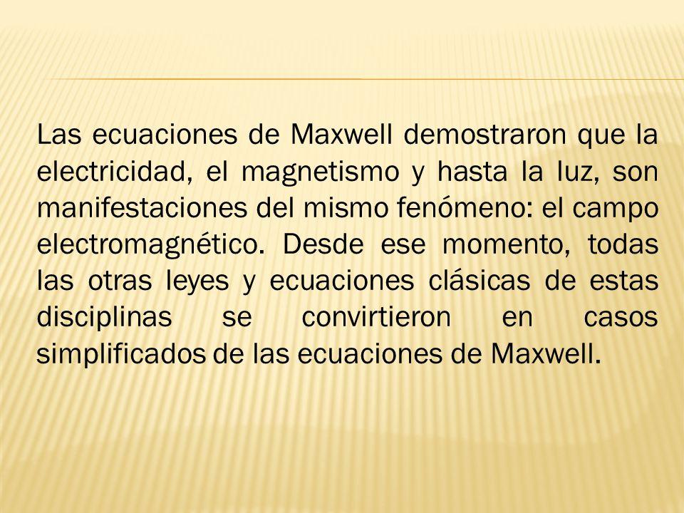 Las ecuaciones de Maxwell demostraron que la electricidad, el magnetismo y hasta la luz, son manifestaciones del mismo fenómeno: el campo electromagné