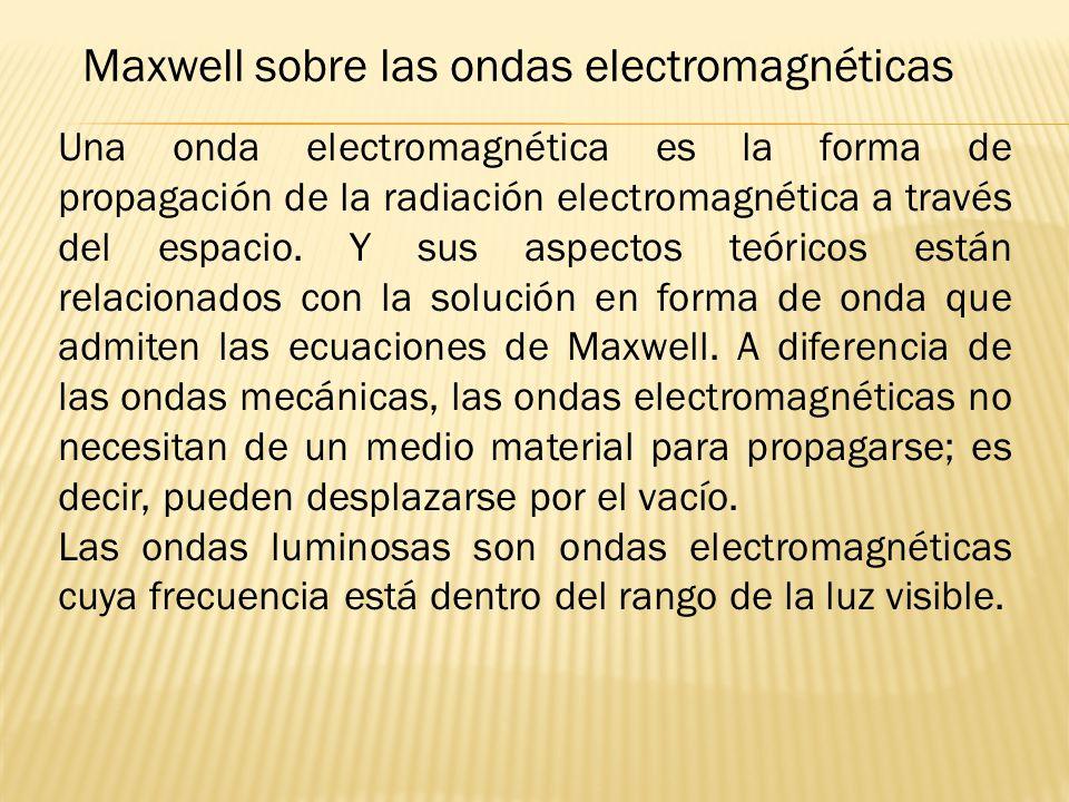 Maxwell sobre las ondas electromagnéticas Una onda electromagnética es la forma de propagación de la radiación electromagnética a través del espacio.