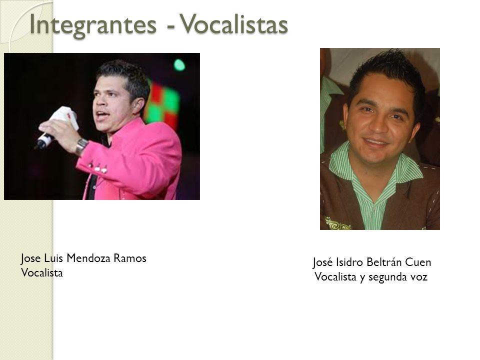 Integrantes - Vocalistas Jose Luis Mendoza Ramos Vocalista José Isidro Beltrán Cuen Vocalista y segunda voz