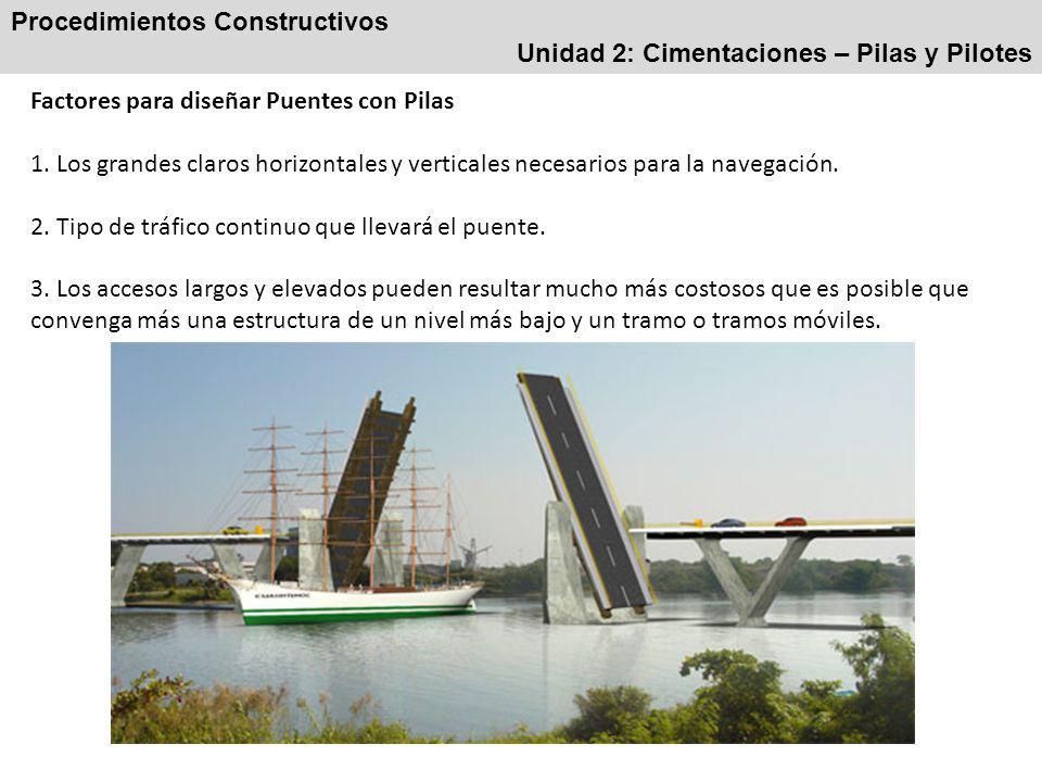 Procedimientos Constructivos Unidad 2: Cimentaciones – Pilas y Pilotes Factores para diseñar Puentes con Pilas 1.
