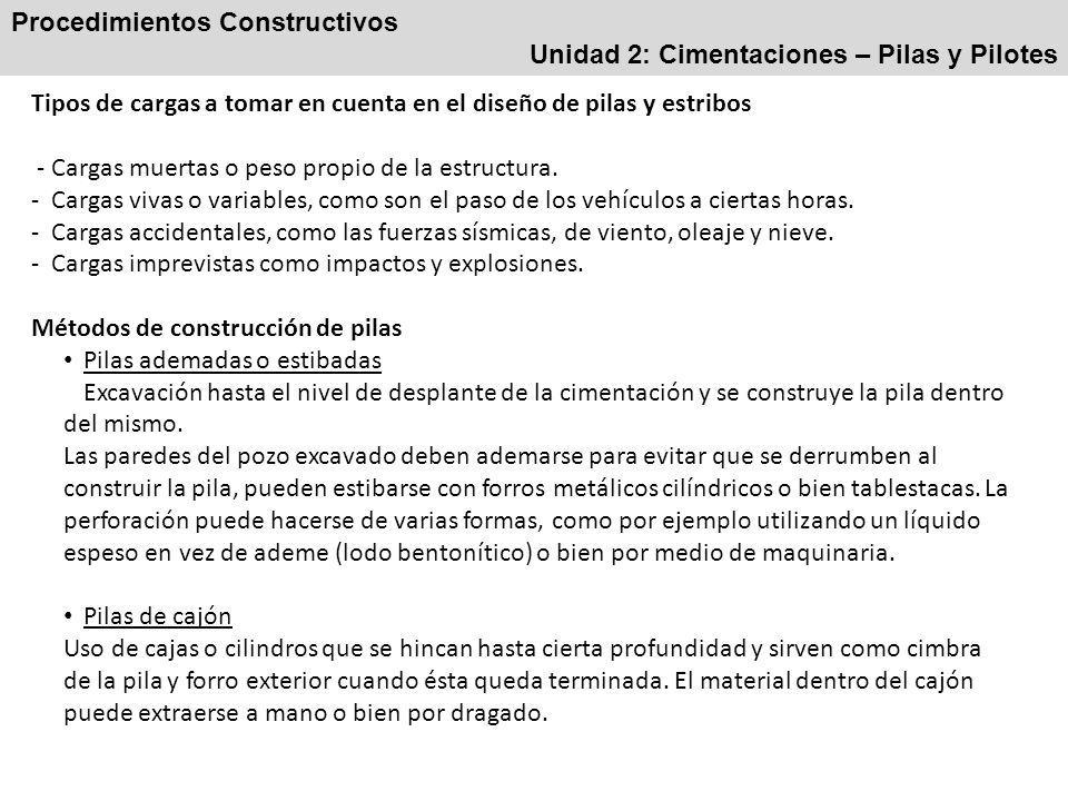 Procedimientos Constructivos Unidad 2: Cimentaciones – Pilas y Pilotes Tipos de cargas a tomar en cuenta en el diseño de pilas y estribos - Cargas muertas o peso propio de la estructura.