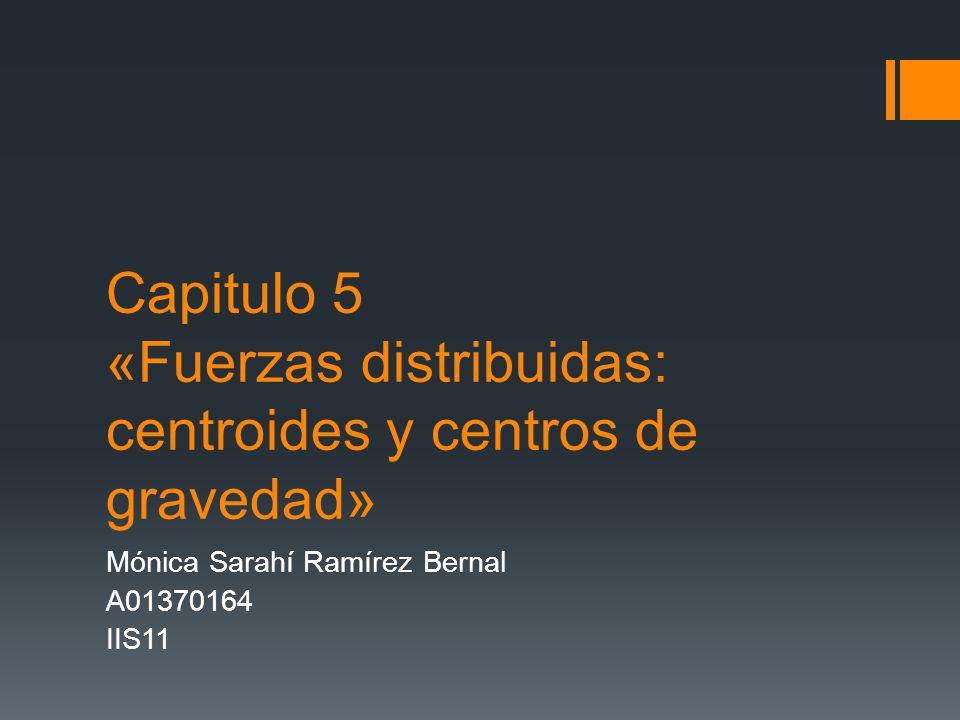 Capitulo 5 «Fuerzas distribuidas: centroides y centros de gravedad» Mónica Sarahí Ramírez Bernal A01370164 IIS11