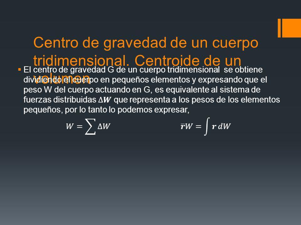 Centro de gravedad de un cuerpo tridimensional. Centroide de un volumen