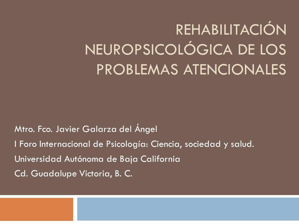 REHABILITACIÓN NEUROPSICOLÓGICA DE LOS PROBLEMAS ATENCIONALES Mtro.