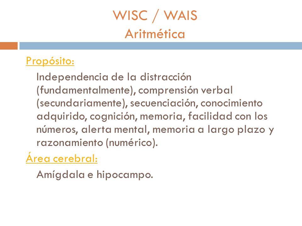 WISC / WAIS Dígitos Propósito: Evaluar la independencia de la distracción, secuenciación, memoria, facilidad con los números y alertamiento.