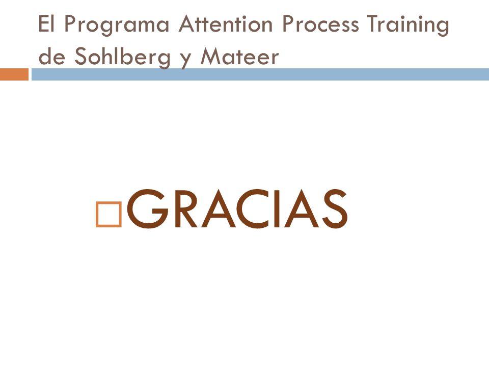 El Programa Attention Process Training de Sohlberg y Mateer Entrenamiento en atención alternante.