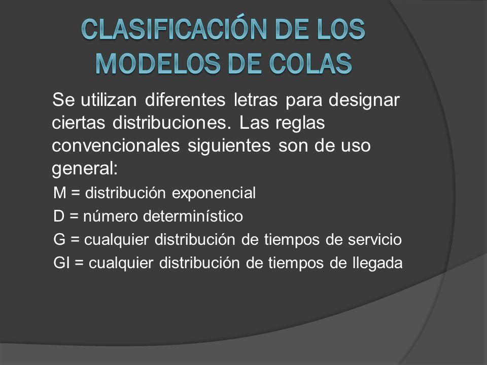 Se utilizan diferentes letras para designar ciertas distribuciones. Las reglas convencionales siguientes son de uso general: M = distribución exponenc