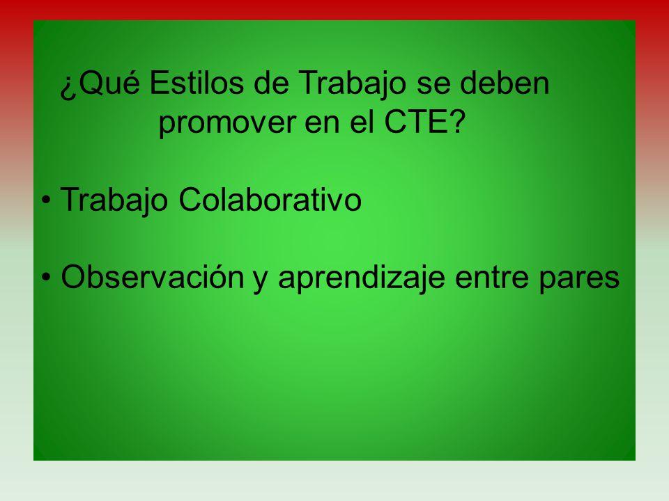 ¿Qué Estilos de Trabajo se deben promover en el CTE? Trabajo Colaborativo Observación y aprendizaje entre pares
