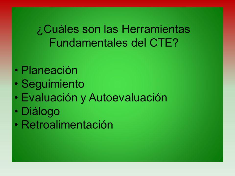 ¿Cuáles son las Herramientas Fundamentales del CTE? Planeación Seguimiento Evaluación y Autoevaluación Diálogo Retroalimentación
