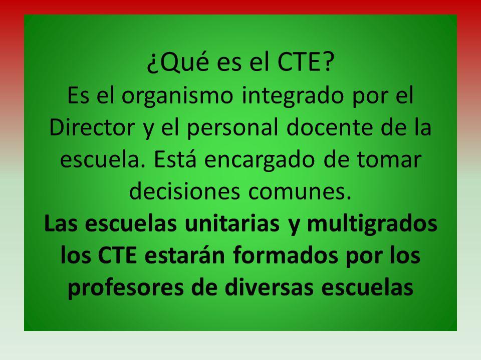 ¿Qué es el CTE? Es el organismo integrado por el Director y el personal docente de la escuela. Está encargado de tomar decisiones comunes. Las escuela