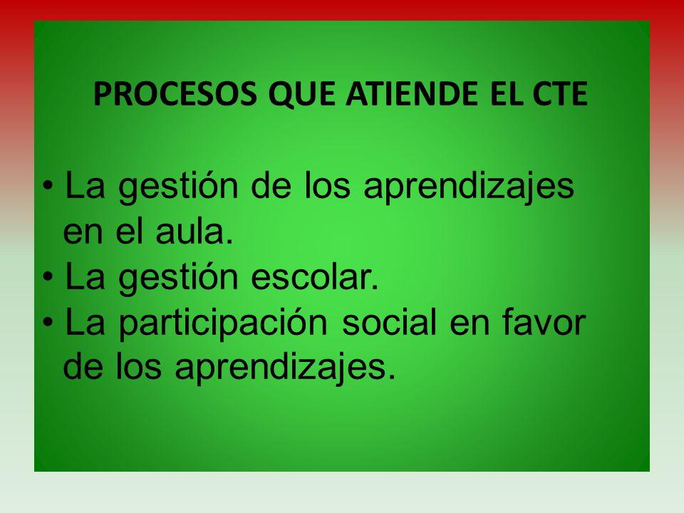 PROCESOS QUE ATIENDE EL CTE La gestión de los aprendizajes en el aula. La gestión escolar. La participación social en favor de los aprendizajes.