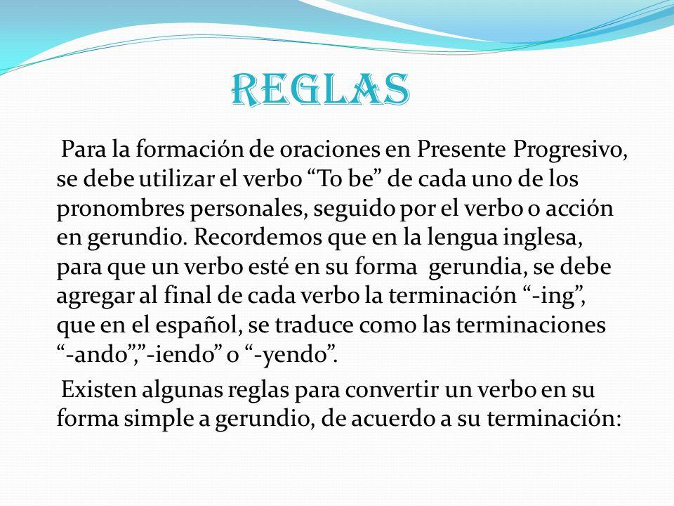 Reglas Para la formación de oraciones en Presente Progresivo, se debe utilizar el verbo To be de cada uno de los pronombres personales, seguido por el