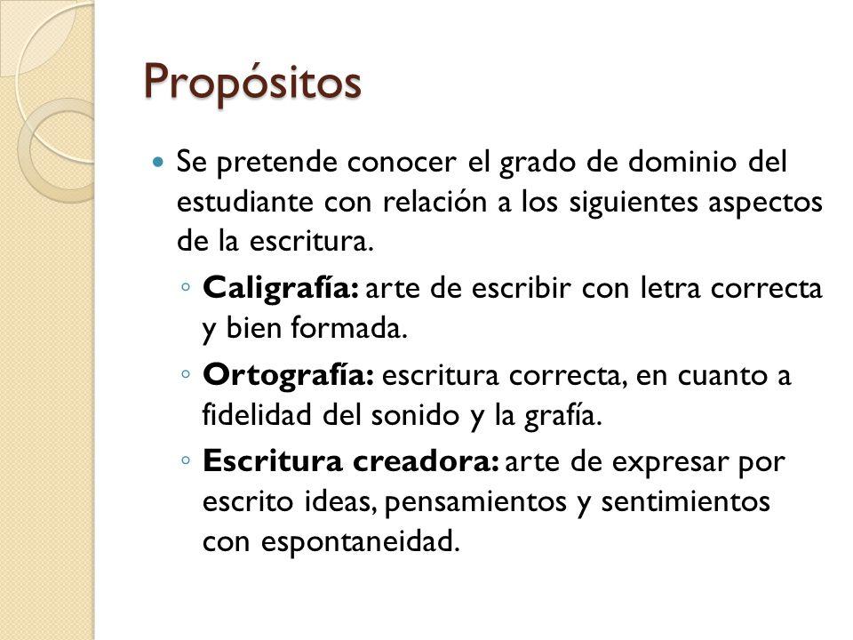 Propósitos Se pretende conocer el grado de dominio del estudiante con relación a los siguientes aspectos de la escritura. Caligrafía: arte de escribir