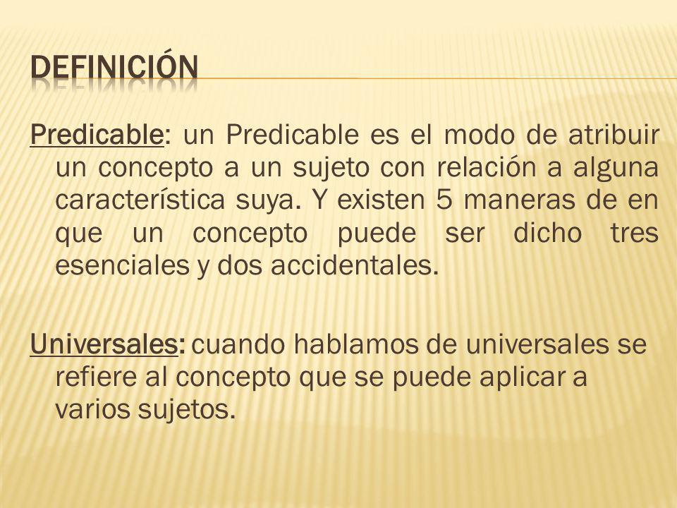 Predicable: un Predicable es el modo de atribuir un concepto a un sujeto con relación a alguna característica suya.