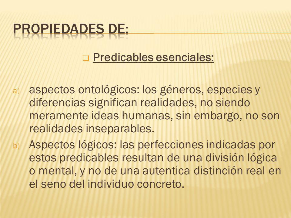 Predicables esenciales: a) aspectos ontológicos: los géneros, especies y diferencias significan realidades, no siendo meramente ideas humanas, sin embargo, no son realidades inseparables.