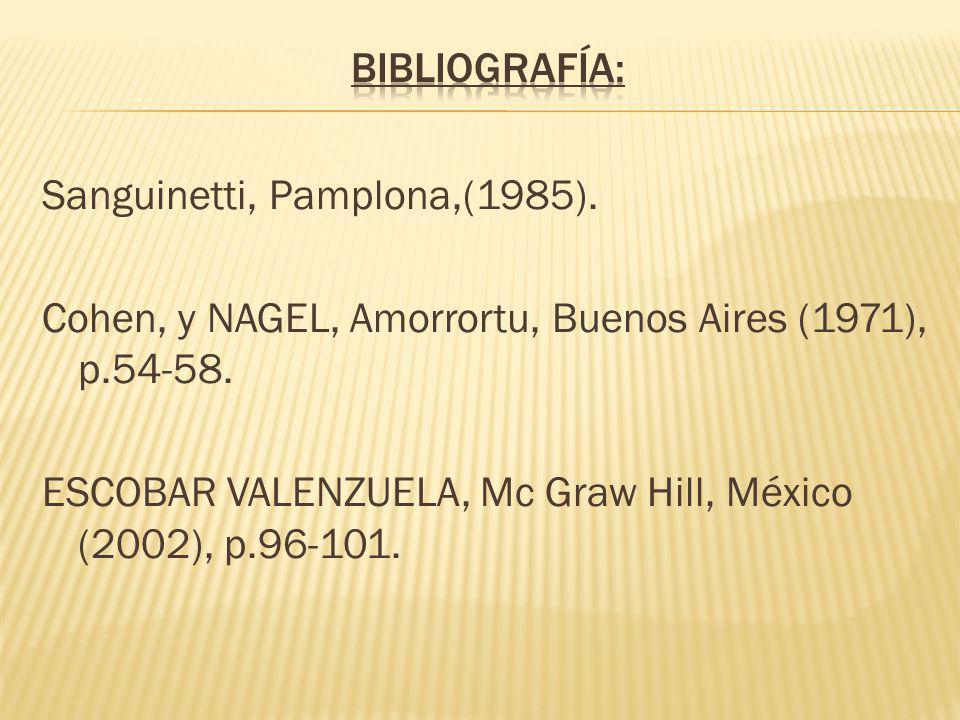 Sanguinetti, Pamplona,(1985).Cohen, y NAGEL, Amorrortu, Buenos Aires (1971), p.54-58.
