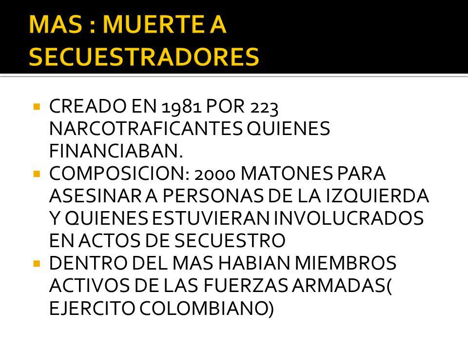 CREADO EN 1981 POR 223 NARCOTRAFICANTES QUIENES FINANCIABAN. COMPOSICION: 2000 MATONES PARA ASESINAR A PERSONAS DE LA IZQUIERDA Y QUIENES ESTUVIERAN I